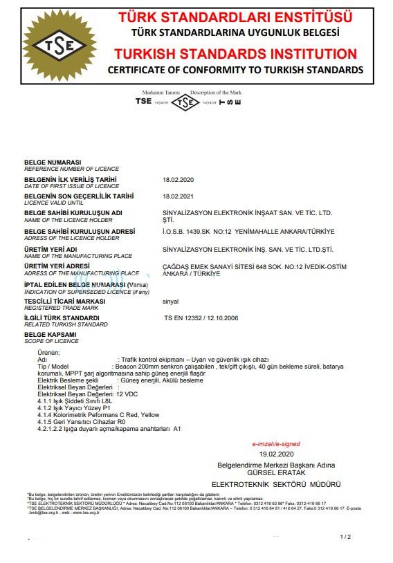 TS EN 12352 SERTİFİKA